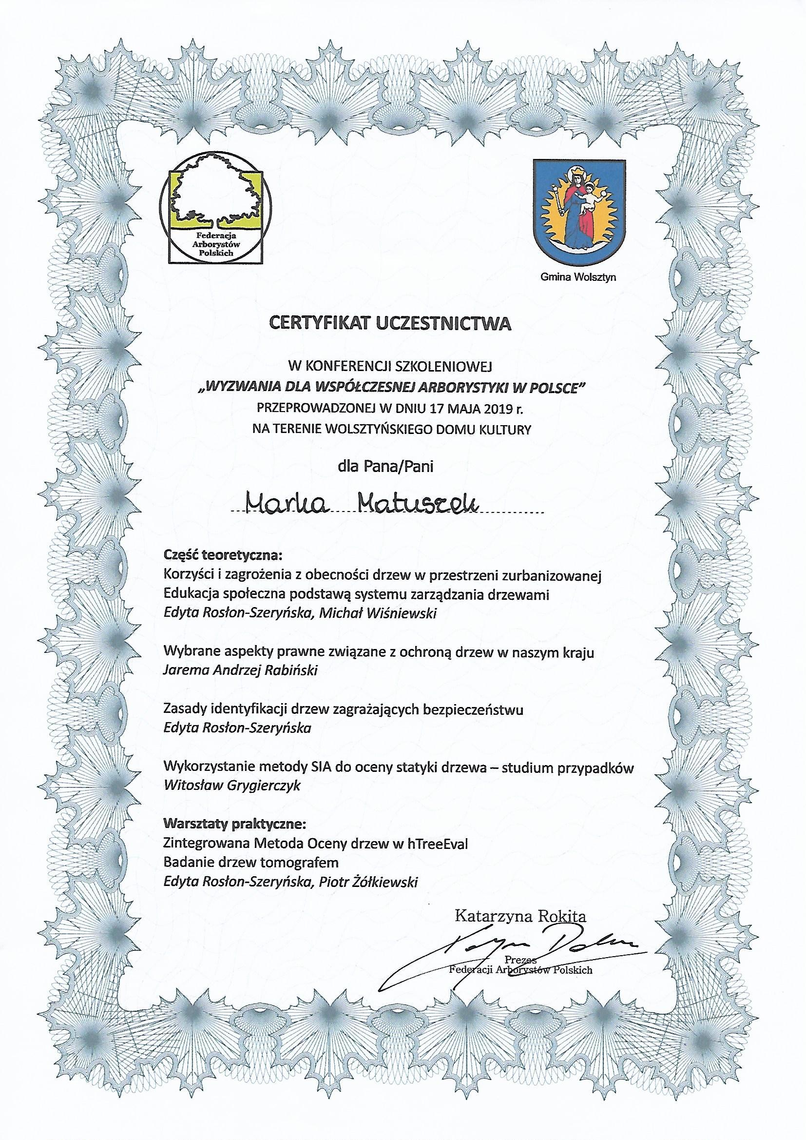 arborystyka certyfikat fap