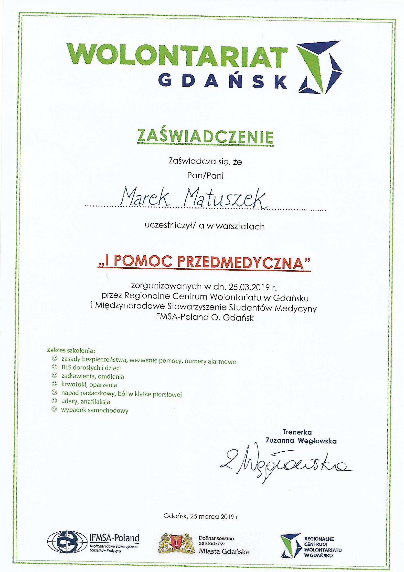 certyfikat pierwsza pomoc przedmedyczna