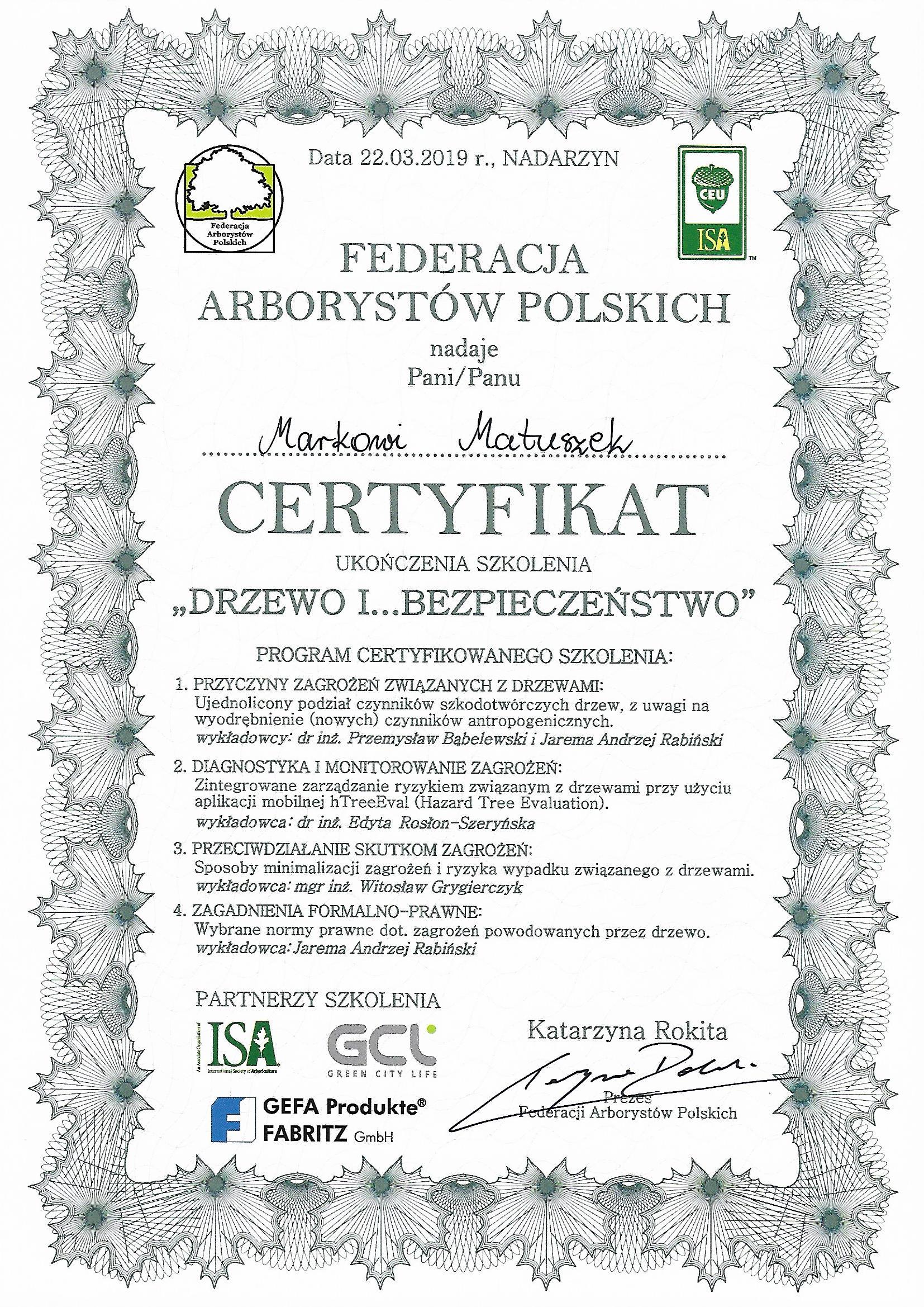 drzew i bezpieczeństwo - federacja arborystów polskich